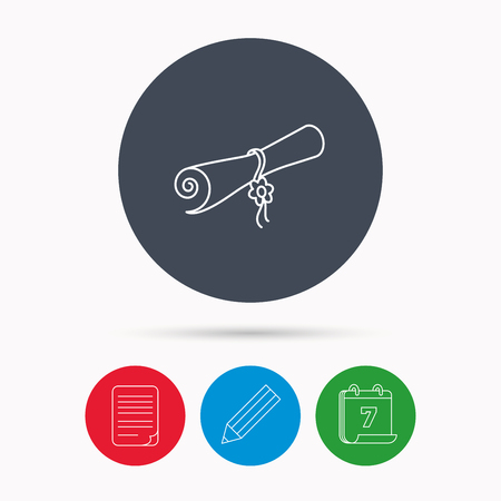 postgraduate: Diploma icon. Graduation document sign. Scroll symbol. Calendar, pencil or edit and document file signs. Vector