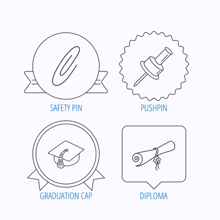 semester: Graduation cap, pushpin and diploma icons. Safety pin linear sign. Award medal, star label and speech bubble designs. Vector Illustration