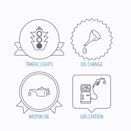 oil change: Motor oil change, traffic lights and gas station icons. Petrol station linear sign. Award medal, star label and speech bubble designs. Vector