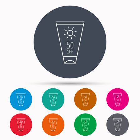 sun lotion: Sun cream container icon. Beach lotion sign. Icons in colour circle buttons. Vector Illustration