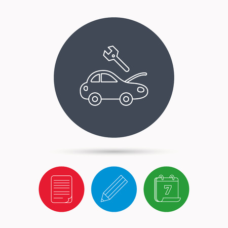 refit: Car service icon. Transport repair with wrench key sign. Calendar, pencil or edit and document file signs. Vector Illustration