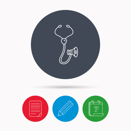 pulmology: Stethoscope icon. Medical doctor equipment sign. Pulmology symbol. Calendar, pencil or edit and document file signs. Vector