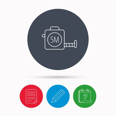 centimetre: Tape measurement icon. Roll ruler sign. Calendar, pencil or edit and document file signs. Vector
