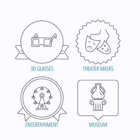 mascaras de teatro: Museo, noria y máscaras de teatro iconos. 3d vasos signo lineal. Medalla de la concesión, la etiqueta estrella y diseños de bocadillo. Vector
