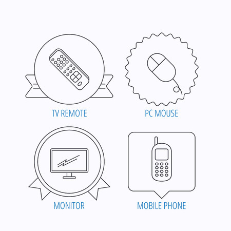tv remote: TV remote, PC mouse and mobile phone icons. Monitor TV linear sign. Award medal, star label and speech bubble designs. Vector