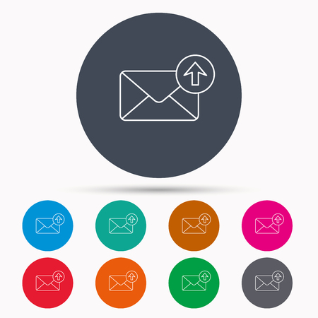 outbox: Mail outbox icon. Email message sign. Upload arrow symbol. Icons in colour circle buttons. Vector