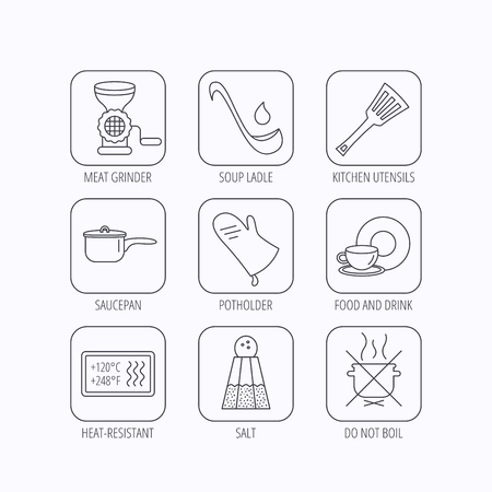 meat soup: Soup ladle, potholder and kitchen utensils icons. Salt, not boil and saucepan linear signs. Meat grinder, water drop and coffee cup icons. Flat linear icons in squares on white background. Vector Illustration
