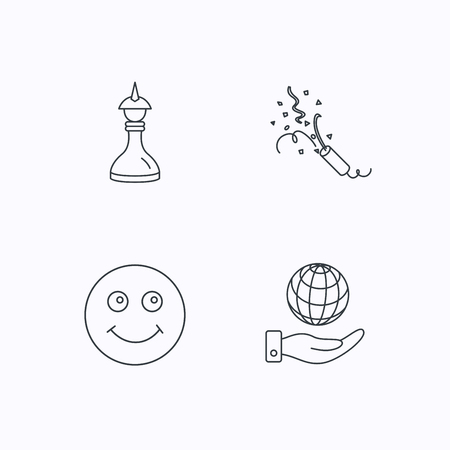 shah: Save planet, slapstick and strategy icons. Smile linear sign. Flat linear icons on white background. Vector