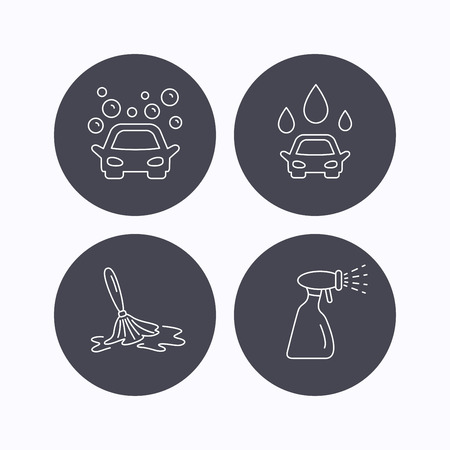 wet cleaning: Car wash icons. Automatic cleaning station linear signs. Wet cleaning and spray flat line icons. Flat icons in circle buttons on white background. Vector