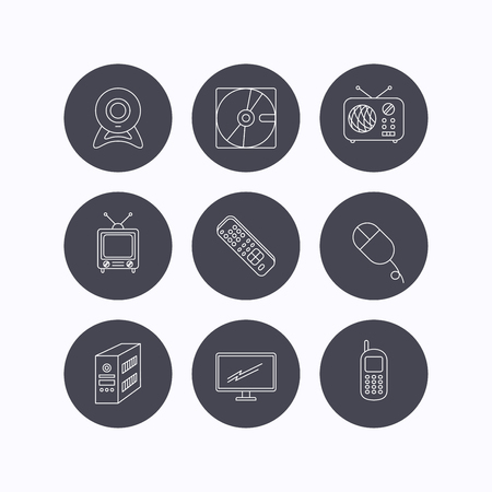 pc case: Web camera, radio and mobile phone icons. Monitor, PC case and TV remote linear signs. Hard disk and PC mouse icons. Flat icons in circle buttons on white background. Vector