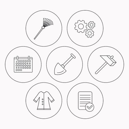 agronomy: Shovel, hammer and cloak icons. Rake linear sign. Check file, calendar and cogwheel icons. Vector