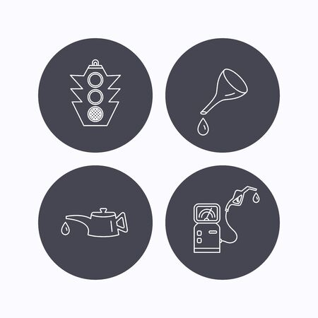oil change: Motor oil change, traffic lights and gas station icons. Petrol station linear sign. Flat icons in circle buttons on white background. Vector Illustration