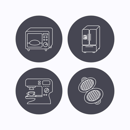 sign maker: Microwave oven, waffle-iron and American style fridge icons. Coffee maker linear sign. Flat icons in circle buttons on white background. Vector Illustration