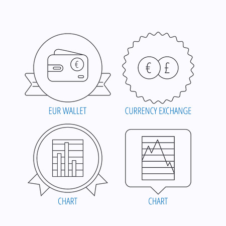 deceleration: Currency exchange, chart and euro wallet icons. Statistics graph linear signs. Award medal, star label and speech bubble designs. Vector