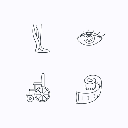 varicose: Vein varicose, wheelchair and weight loss icons. Eye linear sign. Flat linear icons on white background. Vector