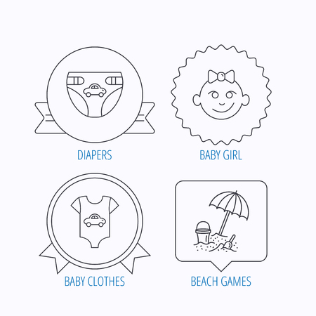 diapers: Newborn clothes, diapers and baby girl icons. Beach games linear sign. Award medal, star label and speech bubble designs. Vector