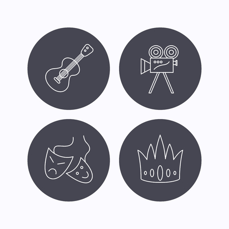 theater masks: Crown, guitar music and theater masks icons. Video camera linear sign. Flat icons in circle buttons on white background. Vector Illustration
