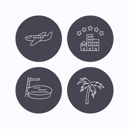 hotel pool: Swimming pool, airplane and palm tree icons. Hotel linear sign. Flat icons in circle buttons on white background. Vector Illustration