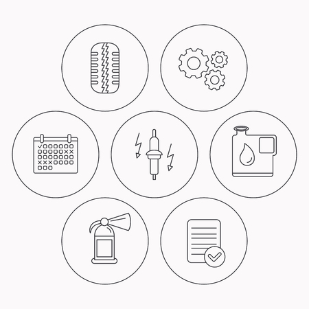 tread: Wheel, fire extinguisher and spark plug icons. Fuel jerrycan, tire tread linear signs. Check file, calendar and cogwheel icons. Vector