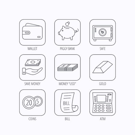 cash box: Piggy bank, cash money and wallet icons. Safe box, gold bar and dollar usd linear signs. Bill, coins and ATM icons. Flat linear icons in squares on white background. Vector