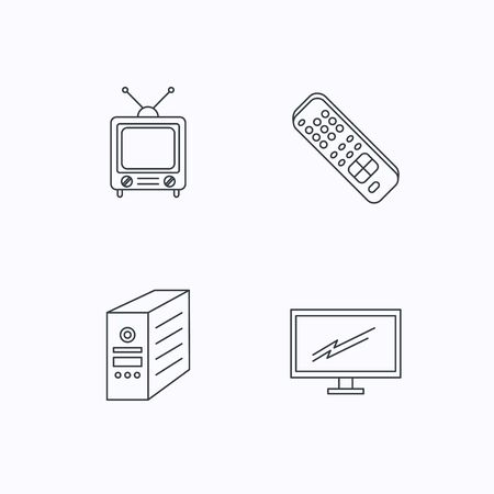 pc case: Retro TV, monitor and pc case icons. TV remote linear sign. Flat linear icons on white background. Vector Illustration