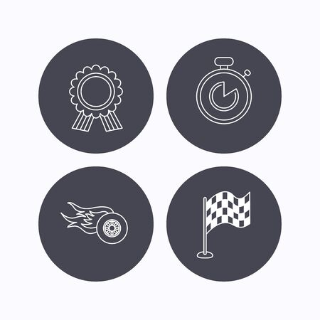 race winner: Race flag, winner medal and timer icons. Wheel on fire linear sign. Flat icons in circle buttons on white background. Vector