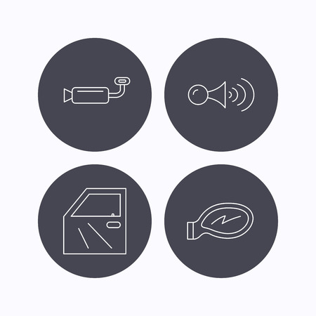 muffler: Car door, muffler and klaxon signal icons. Car mirror linear sign. Flat icons in circle buttons on white background. Vector Illustration