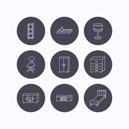 single shelf: Single bed, TV table and shelving icons. Office chair, table lamp and cupboard linear signs. Wall shelf, chest of drawers icons. Flat icons in circle buttons on white background. Vector