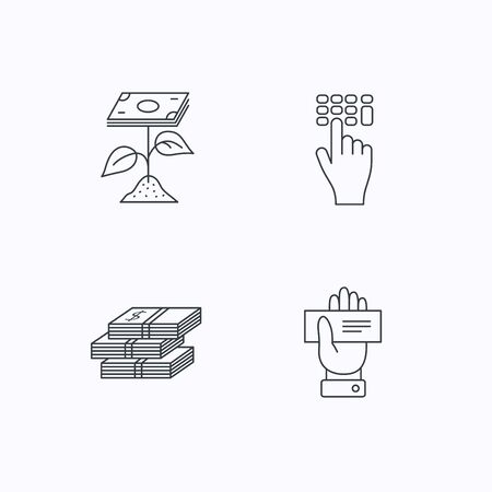 cheque: Cash money, cheque and profit icons. Enter code linear sign. Flat linear icons on white background. Vector