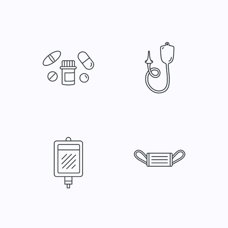enema: Medical mask, blood and pills icons. Enema linear sign. Flat linear icons on white background. Vector