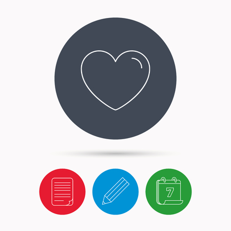 edit valentine: Love heart icon. Life sign. Like symbol. Calendar, pencil or edit and document file signs. Vector