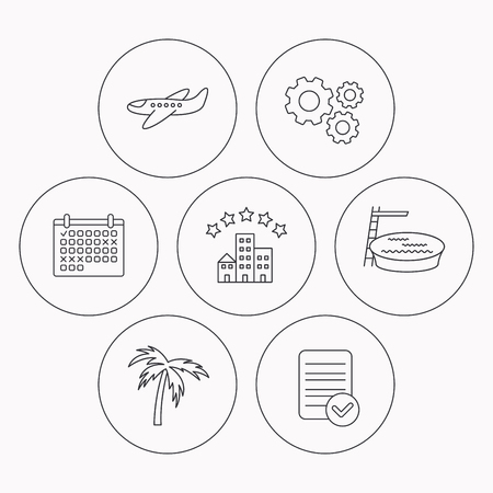 hotel pool: Swimming pool, airplane and palm tree icons. Hotel linear sign. Check file, calendar and cogwheel icons. Vector