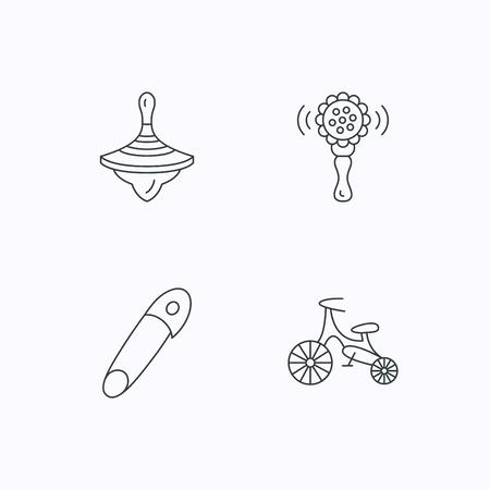 perinola: La primera bicicleta, zapateros y los iconos de juguete sonajero. Pin se�al lineal. iconos lineales planos sobre fondo blanco. Vector Vectores
