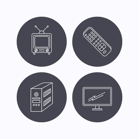 pc case: Retro TV, PC case and monitor icons. TV remote linear sign. Flat icons in circle buttons on white background. Vector