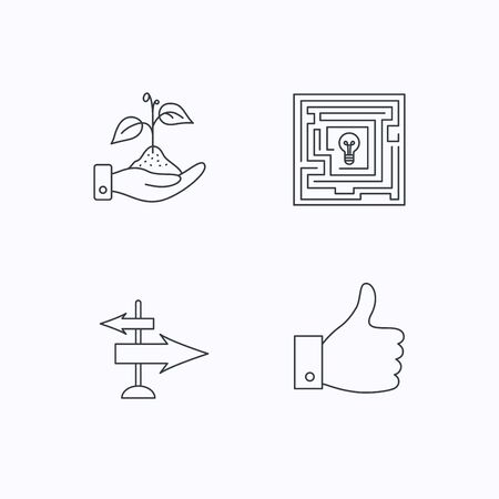 thin bulb: Save nature, thumb up and direction icons. Problem challenge, like linear signs. Flat linear icons on white background. Vector Illustration