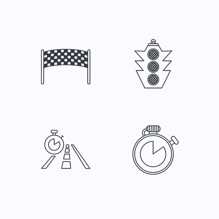 checkpoint: Checkpoint, traffic lights and timer icons. Travel time, road linear signs. Flat linear icons on white background. Vector Illustration