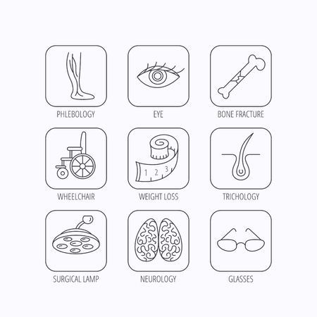 neurosurgery: Vein varicose, neurology and trichology icons. Surgical lamp, glasses and eye linear signs. Bone fracture, wheelchair and weight loss icons. Flat linear icons in squares on white background. Vector