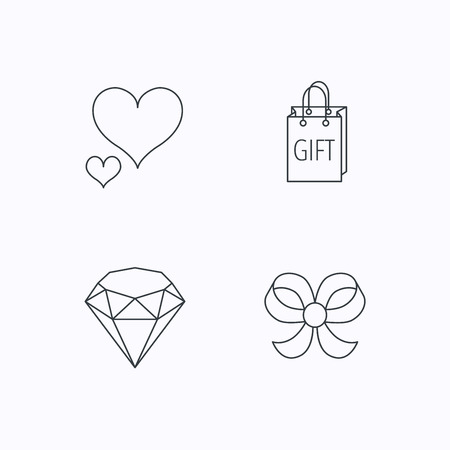bowknot: Love heart, gift bag and brilliant icons. Bow-knot linear sign. Flat linear icons on white background. Vector