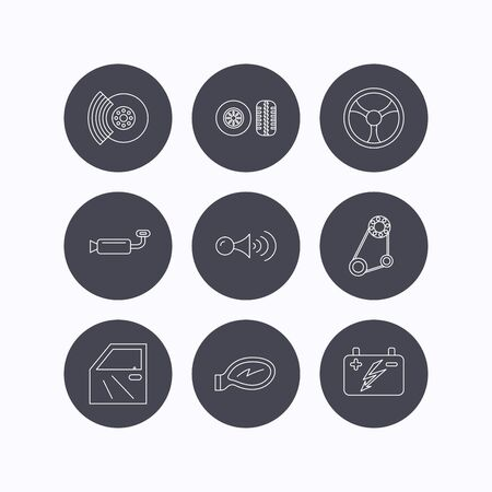 brakes: Accumulator, brakes and steering wheel icons. Generator belt, klaxon signal and car mirror linear signs. Door icon. Flat icons in circle buttons on white background. Vector