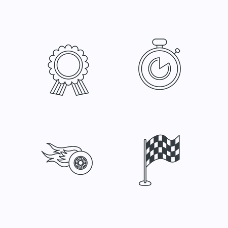 race winner: Race flag, winner medal and timer icons. Wheel on fire linear sign. Flat linear icons on white background. Vector
