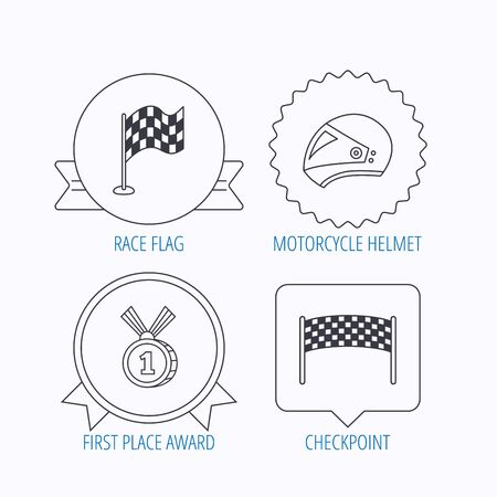 race winner: Race flag, checkpoint and motorcycle helmet icons. Winner award medal linear signs. Award medal, star label and speech bubble designs. Vector