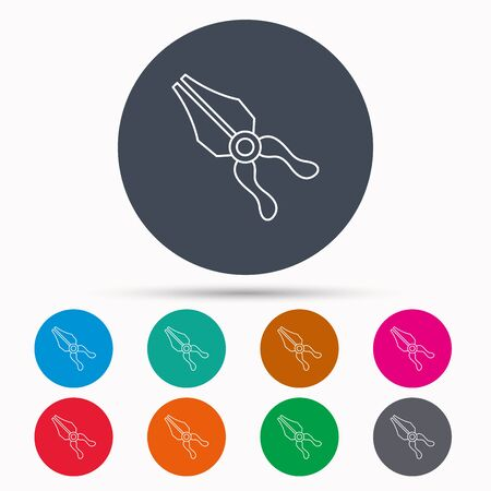 repairing: Pliers icon. Repairing fix tool sign. Icons in colour circle buttons. Vector Illustration