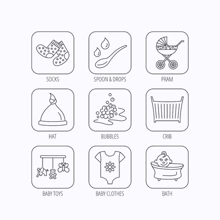 white socks: Baby clothes, bath and hat icons. Pram carriage, spoon with drops linear signs. Socks, baby toys and bubbles flat line icons. Flat linear icons in squares on white background. Vector