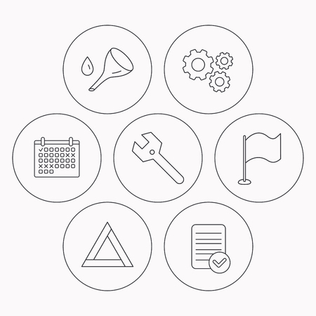 oil change: Flag pointer, emergency sign and wrench key icons. Emergency triangle, oil change linear signs. Check file, calendar and cogwheel icons. Vector Illustration