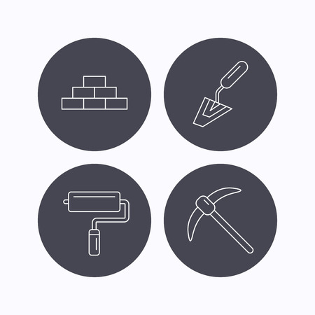 mining icons: Brickwork, spatula and mining icons. Paint roller linear sign. Flat icons in circle buttons on white background. Vector