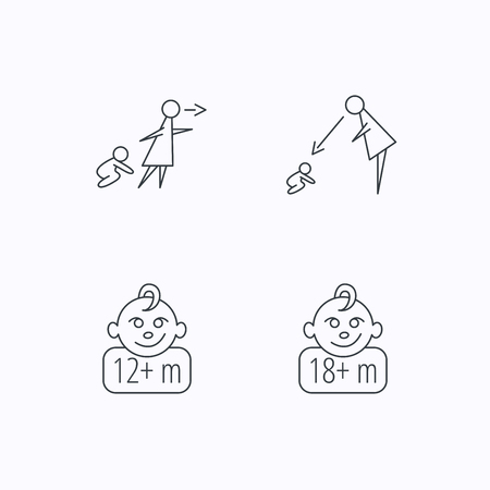 Unattended, parents supervision and 12 months child icons. 18+ months child linear sign. Flat linear icons on white background. Vector