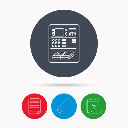 automatic transaction machine: ATM icon. Automatic cash withdrawal sign. Calendar, pencil or edit and document file signs. Vector