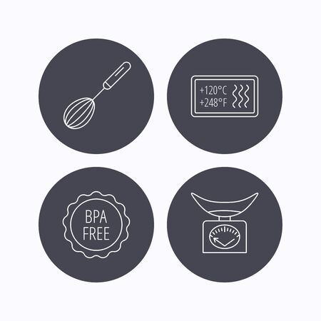 bpa: Kitchen scales, whisk and heat-resistant icons. BPA free linear sign. Flat icons in circle buttons on white background. Vector Illustration