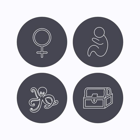 toy chest: Female, treasure chest and pediatrics icons. Octopus linear sign. Flat icons in circle buttons on white background. Vector