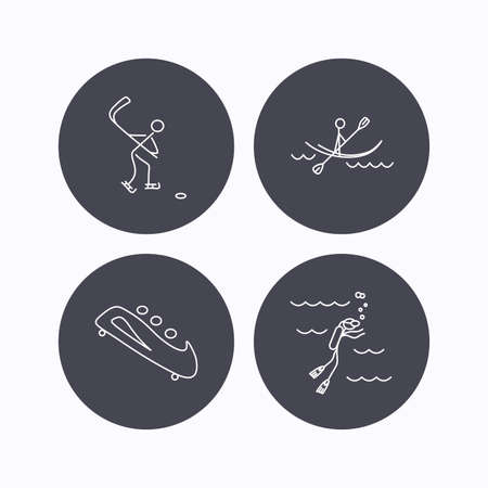 black white kayak: Ice hockey, diving and kayaking icons. Bobsled linear sign. Flat icons in circle buttons on white background. Vector